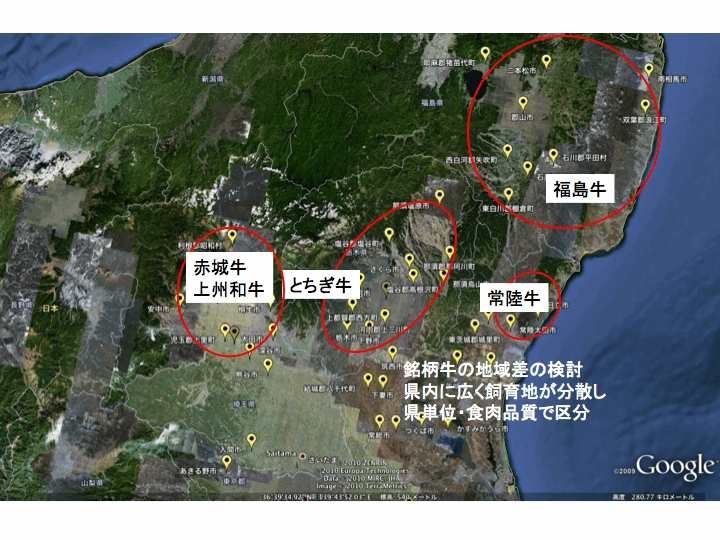 関東北部の銘柄牛肉の地域分布